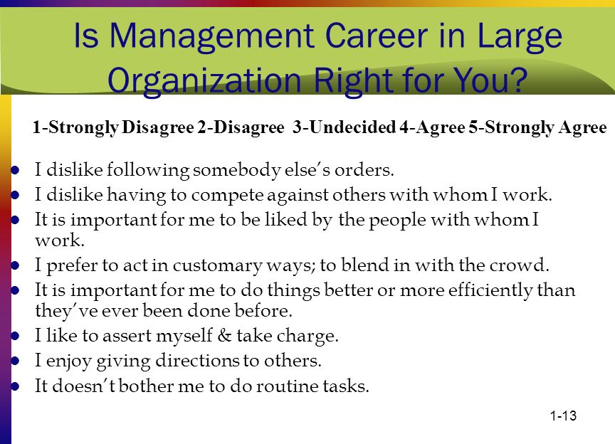 1-13 Is Management Career in Large Organization Right for You? I dislike following somebody else's orders. I dislike having to compete against others