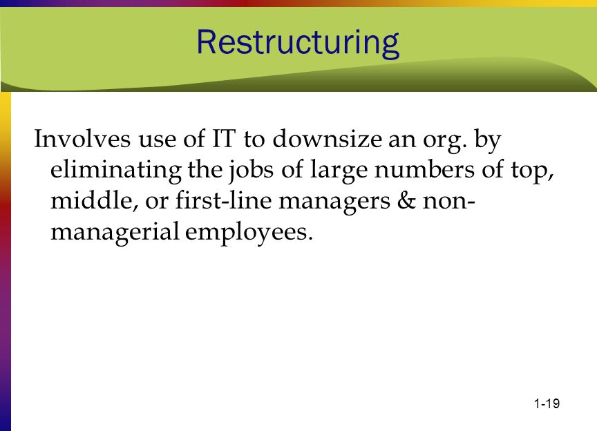1-19 Restructuring Involves use of IT to downsize an org. by eliminating the jobs of large numbers of top, middle, or first-line managers & non- manag