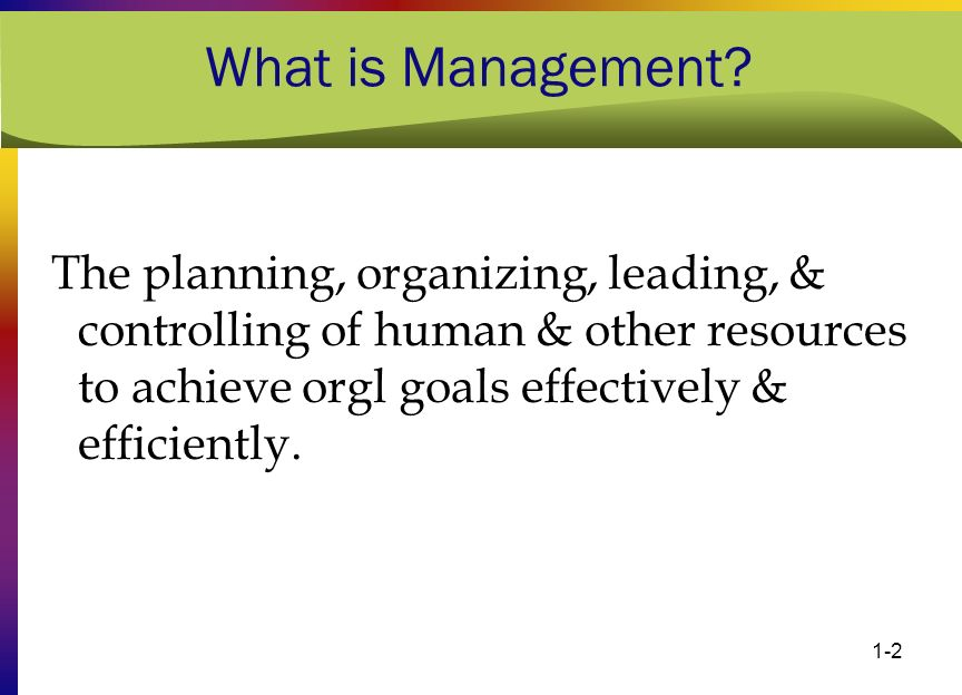 1-2 What is Management? The planning, organizing, leading, & controlling of human & other resources to achieve orgl goals effectively & efficiently.