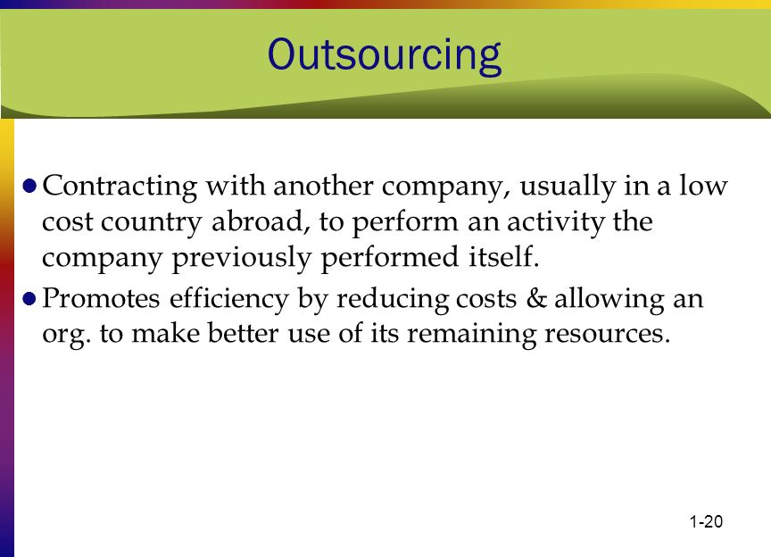 1-20 Outsourcing Contracting with another company, usually in a low cost country abroad, to perform an activity the company previously performed itsel