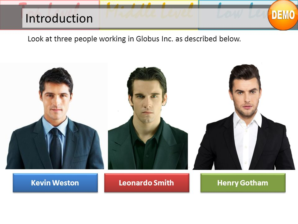 Middle LevelTop LevelLow Level Introduction Look at three people working in Globus Inc. as described below. Kevin Weston Leonardo Smith Henry Gotham