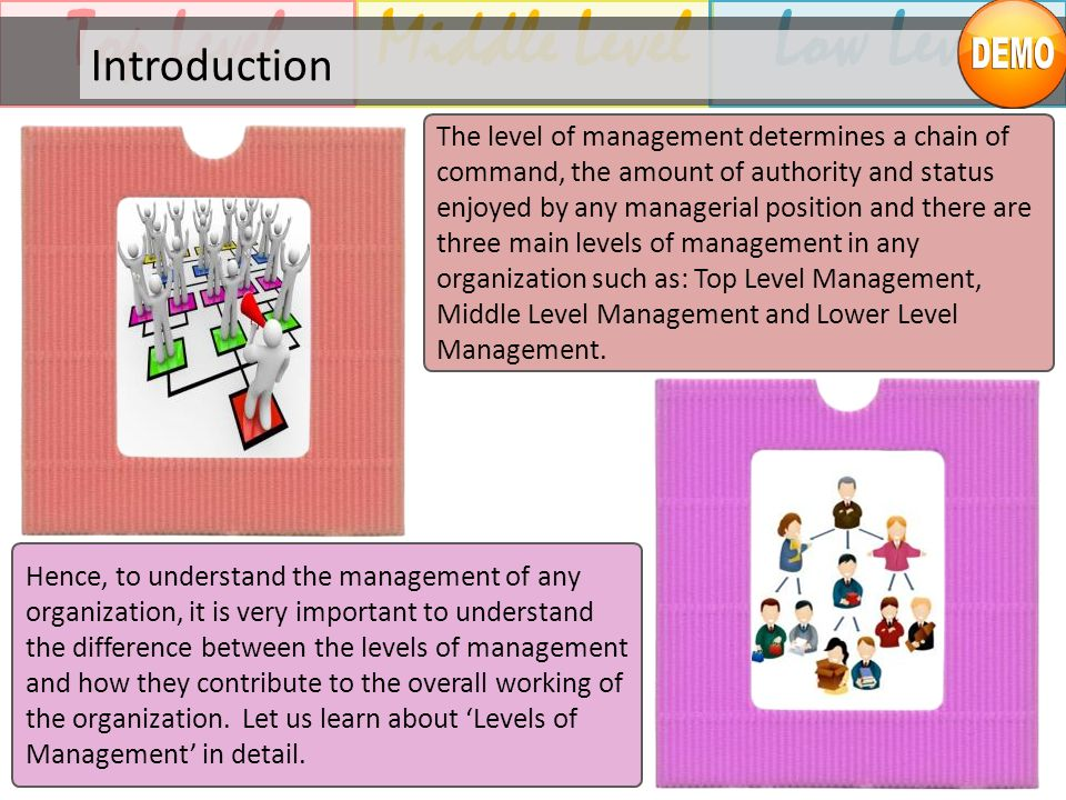 Middle LevelTop LevelLow Level Introduction The level of management determines a chain of command, the amount of authority and status enjoyed by any m
