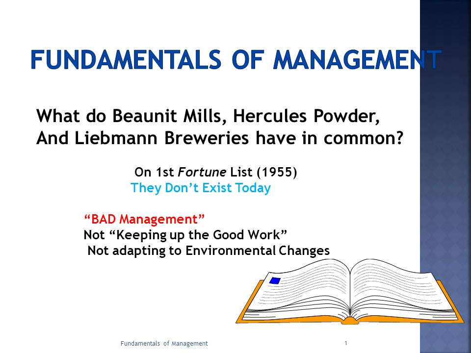 Fundamentals of Management 1 What do Beaunit Mills, Hercules Powder, And Liebmann Breweries have in common? On 1st Fortune List (1955) They Don't Exis
