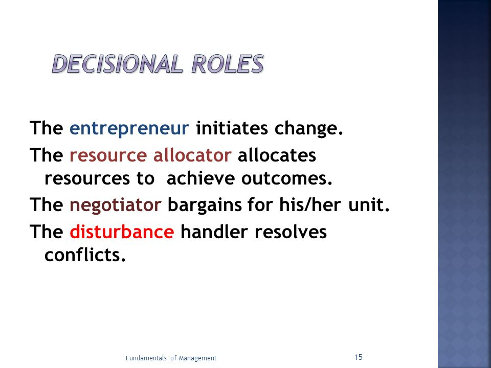 The entrepreneur initiates change. The resource allocator allocates resources to achieve outcomes. The negotiator bargains for his/her unit. The distu