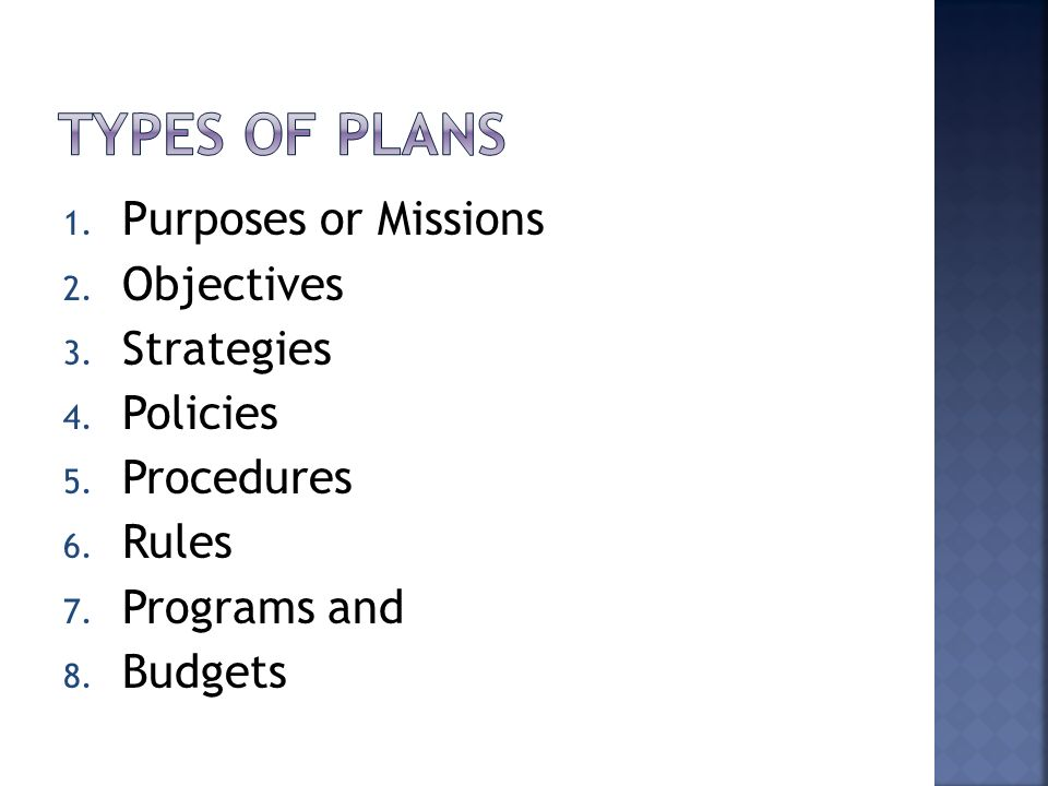 1. Purposes or Missions 2. Objectives 3. Strategies 4. Policies 5. Procedures 6. Rules 7. Programs and 8. Budgets