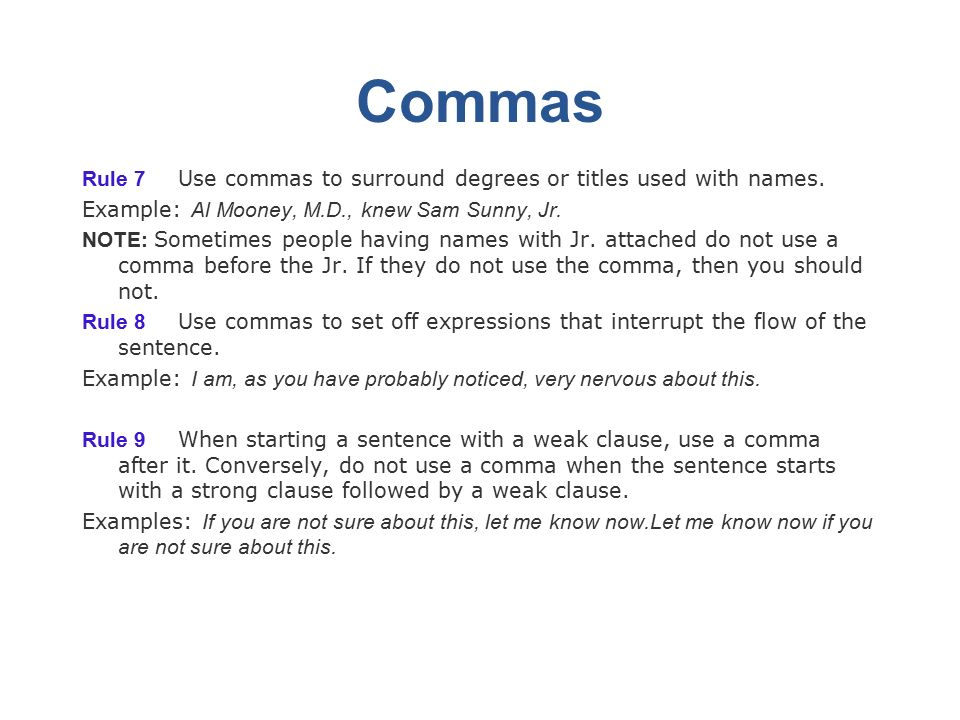 when to use comma before and