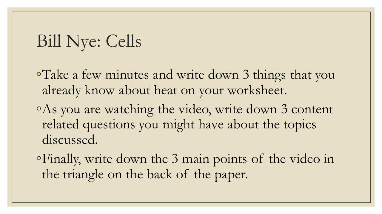 worksheet Bill Nye Heat Worksheet Answers bill nye cells video worksheet checks 23 bill