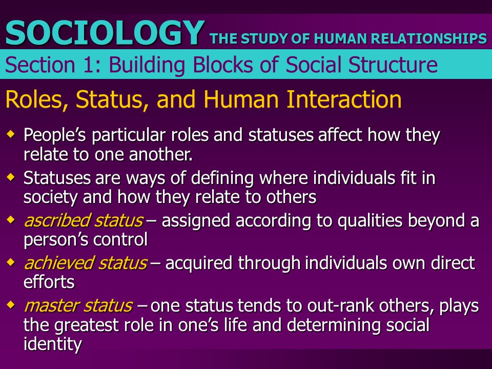 THE STUDY OF HUMAN RELATIONSHIPS SOCIOLOGY Roles, Status, and Human Interaction  People's particular roles and statuses affect how they relate to one