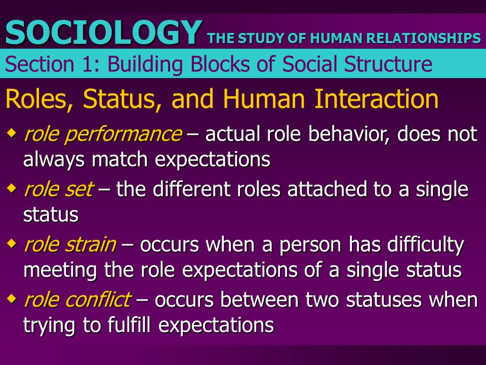 THE STUDY OF HUMAN RELATIONSHIPS SOCIOLOGY Roles, Status, and Human Interaction  role performance – actual role behavior, does not always match expec