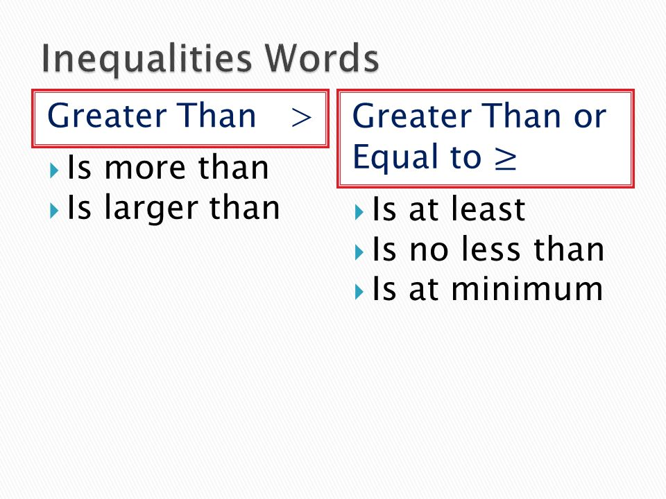 Greater Than >  Is more than  Is larger than  Is at least  Is no less than  Is at minimum