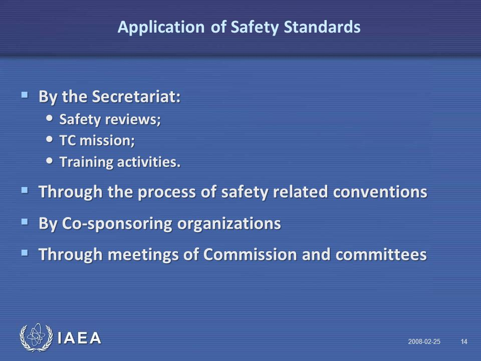 IAEA Application of Safety Standards  By the Secretariat: Safety reviews; Safety reviews; TC mission; TC mission; Training activities.