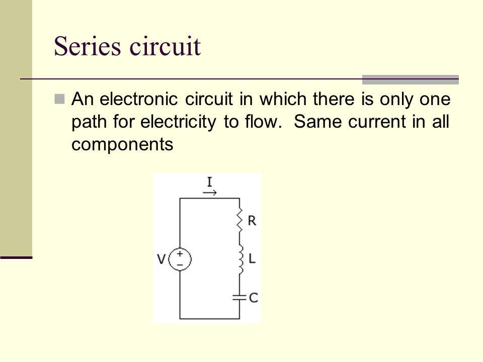 Series circuit An electronic circuit in which there is only one path for electricity to flow.