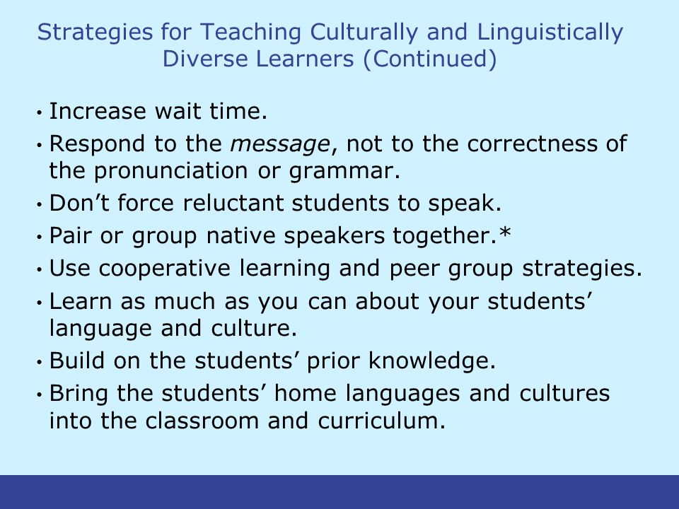 Strategies for Teaching Culturally and Linguistically Diverse Learners (Continued) Increase wait time.