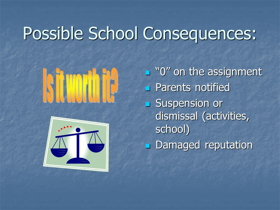 Possible School Consequences: 0 on the assignment 0 on the assignment Parents notified Parents notified Suspension or dismissal (activities, school) Suspension or dismissal (activities, school) Damaged reputation Damaged reputation