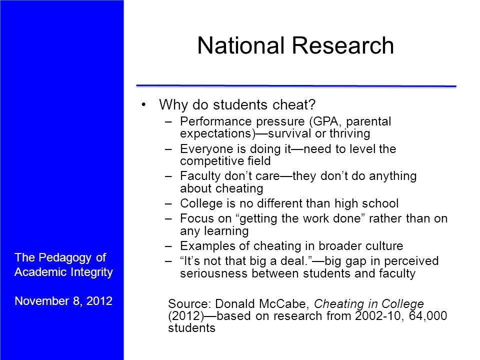 The Pedagogy of Academic Integrity November 8, 2012 The Pedagogy ...