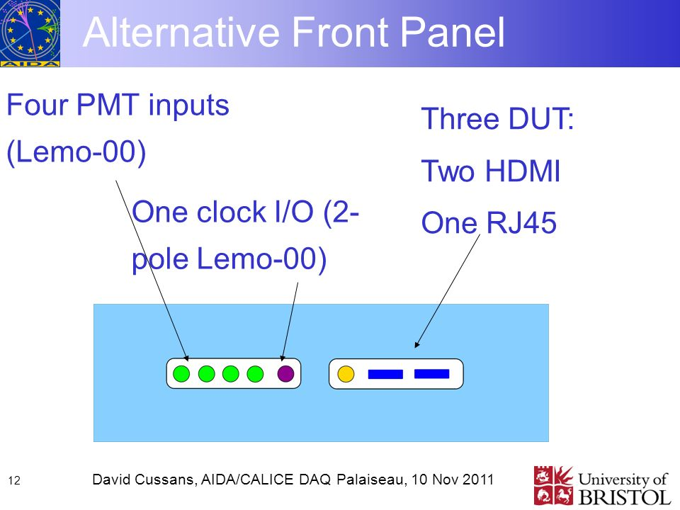 David Cussans, AIDA/CALICE DAQ Palaiseau, 10 Nov Alternative Front Panel Four PMT inputs (Lemo-00) One clock I/O (2- pole Lemo-00) Three DUT: Two HDMI One RJ45