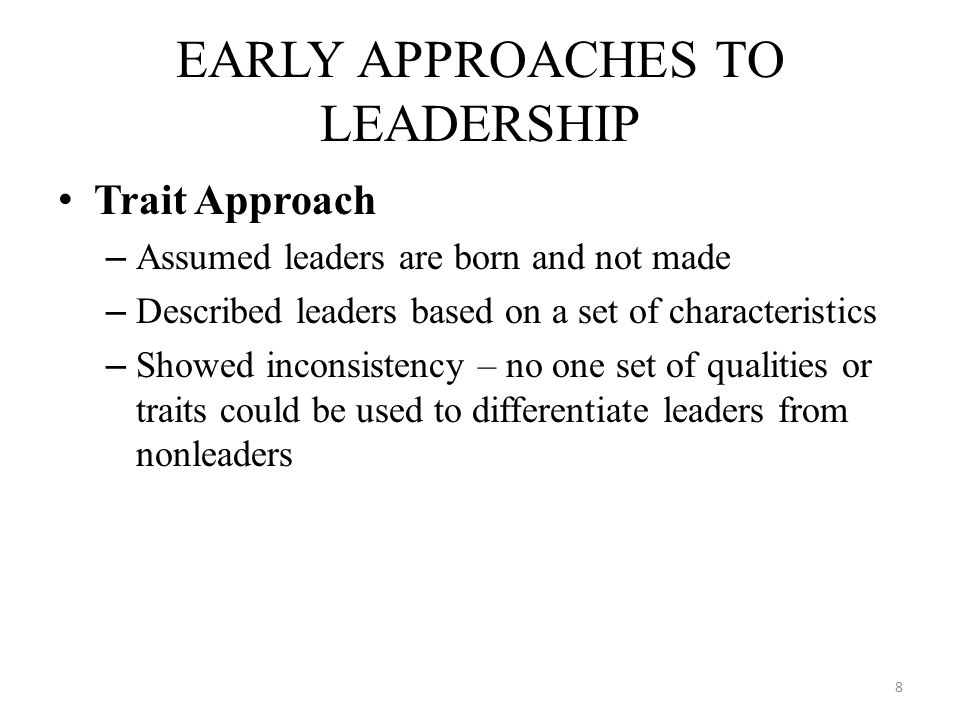 Intelligence Past achievement in scholarship & athletics Emotional maturity & stability Dependability, persistence, drive Social and adaptive skills Desire for status and socioeconomic position Common Leadership Traits 9