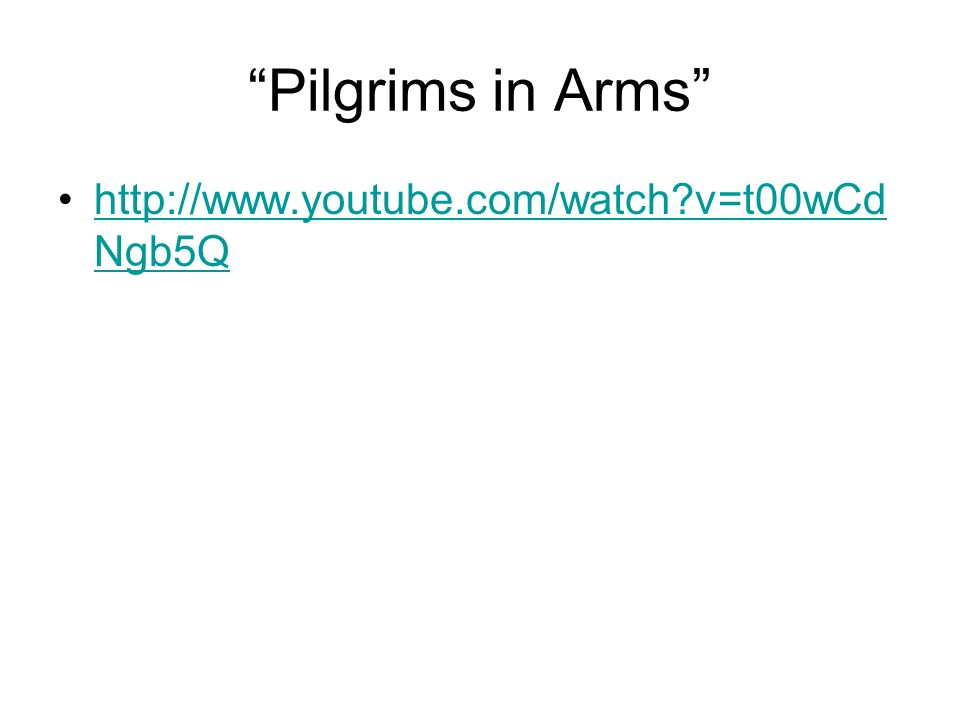Pilgrims in Arms http://www.youtube.com/watch v=t00wCd Ngb5Qhttp://www.youtube.com/watch v=t00wCd Ngb5Q
