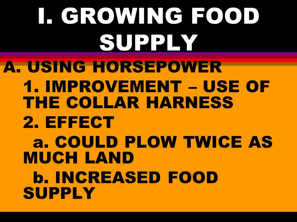 I. GROWING FOOD SUPPLY A. USING HORSEPOWER 1. IMPROVEMENT – USE OF THE COLLAR HARNESS 2.