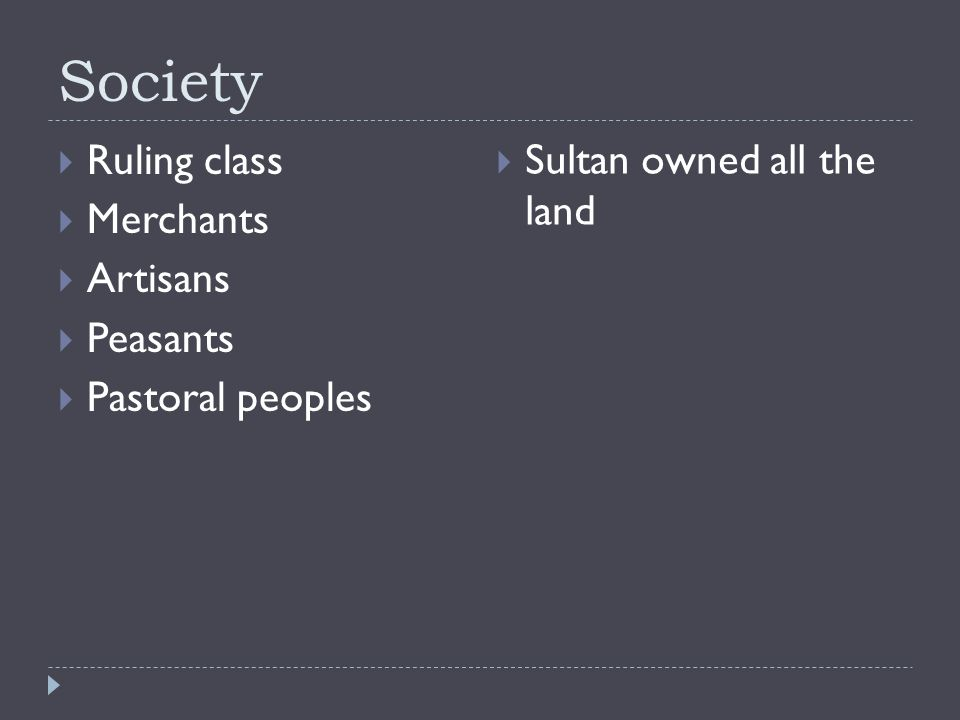 Society  Ruling class  Merchants  Artisans  Peasants  Pastoral peoples  Sultan owned all the land