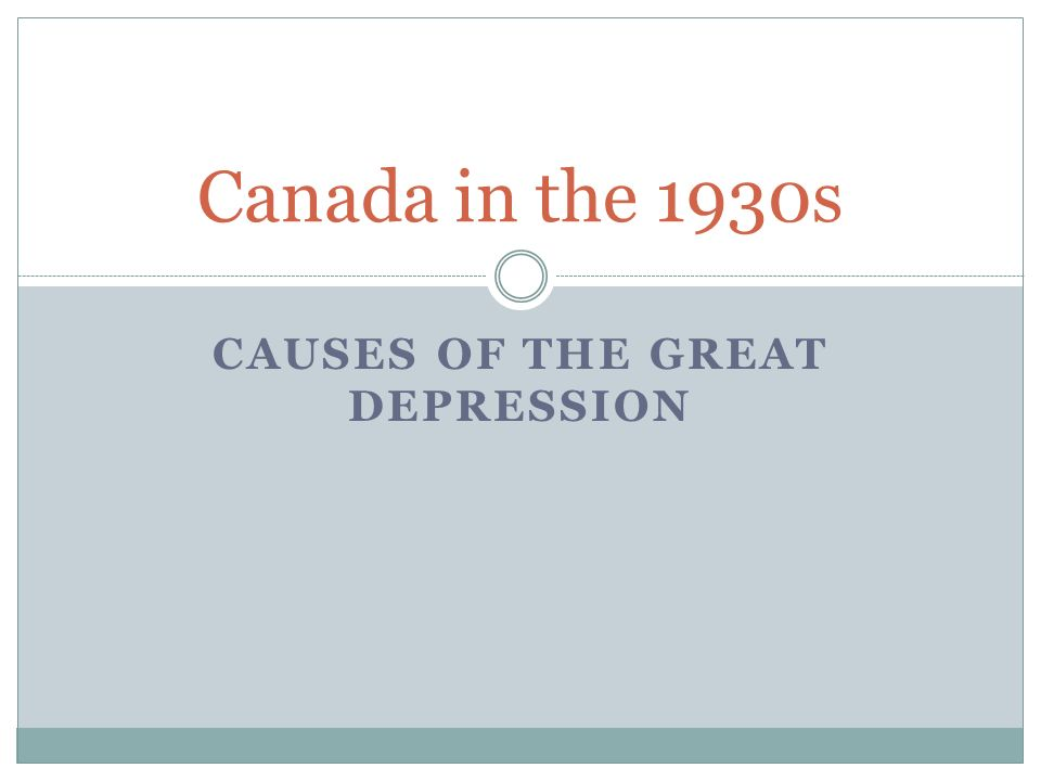 The great depression and canada