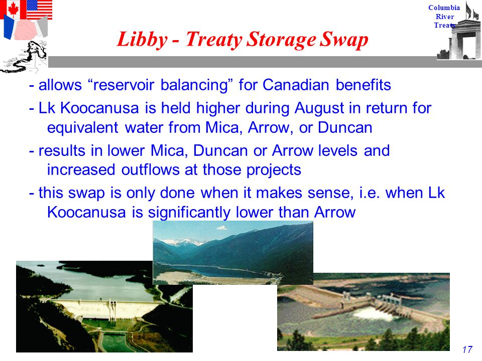 17 Columbia River Treaty Libby - Treaty Storage Swap - allows reservoir balancing for Canadian benefits - Lk Koocanusa is held higher during August in return for equivalent water from Mica, Arrow, or Duncan - results in lower Mica, Duncan or Arrow levels and increased outflows at those projects - this swap is only done when it makes sense, i.e.