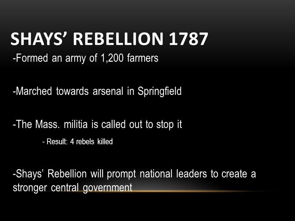 SHAYS' REBELLION Formed an army of 1,200 farmers -Marched towards arsenal in Springfield -The Mass.