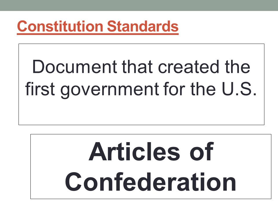 Constitution Standards Document that created the first government for the U.S.