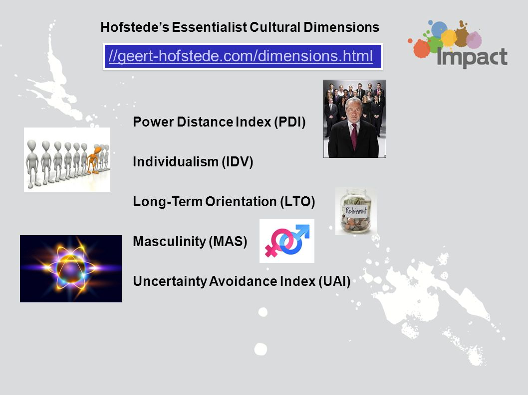 geert hofstede cultural dimensions Hofstede's cultural dimensions theory is a framework for cross-cultural communication, developed by geert hofstedeit describes the effects of a society's culture on the values of its members, and how these values relate to behavior, using a.