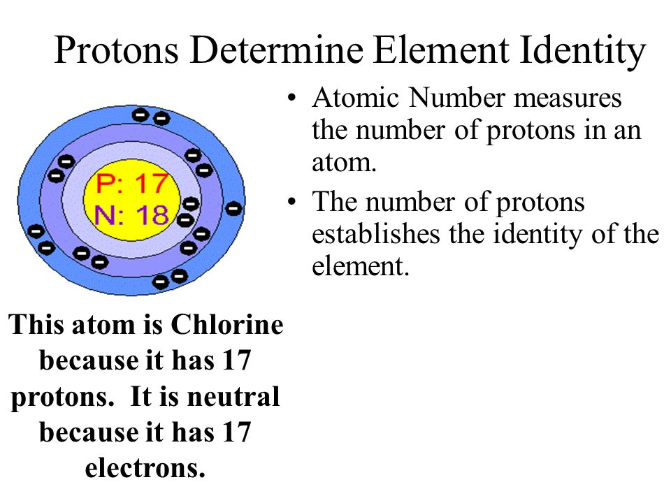 Protons Determine Element Identity Atomic Number measures the number of protons in an atom.