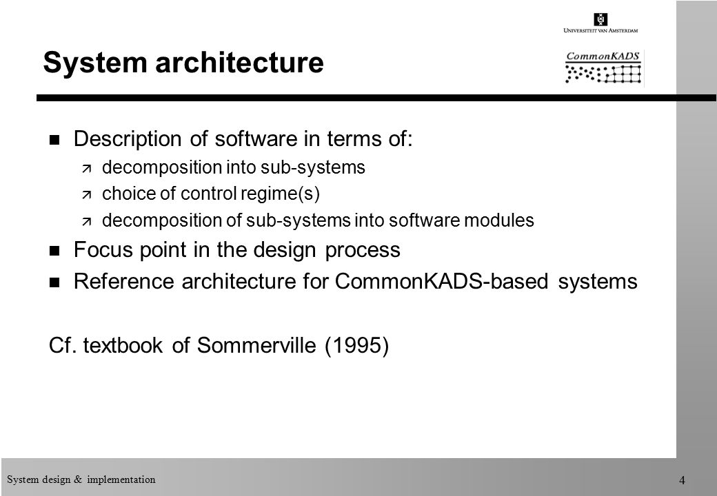 Amazing System Design U0026 Implementation 4 System Architecture N Description Of  Software In Terms Of: ä