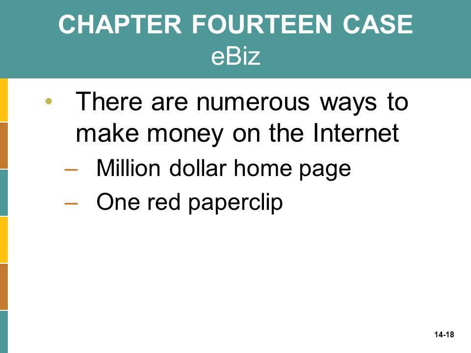 14-18 CHAPTER FOURTEEN CASE eBiz There are numerous ways to make money on the Internet –Million dollar home page –One red paperclip