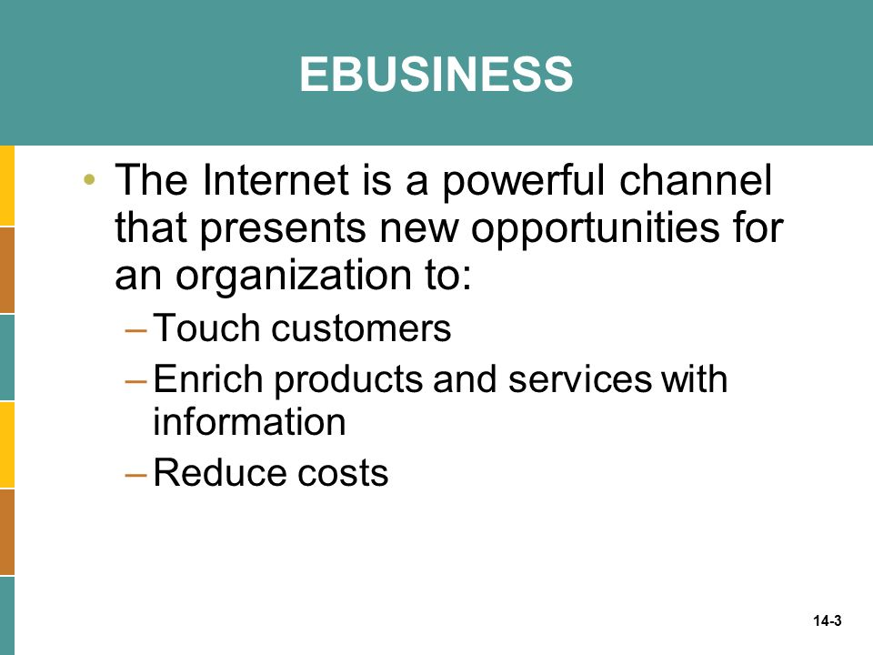 14-3 EBUSINESS The Internet is a powerful channel that presents new opportunities for an organization to: –Touch customers –Enrich products and servic