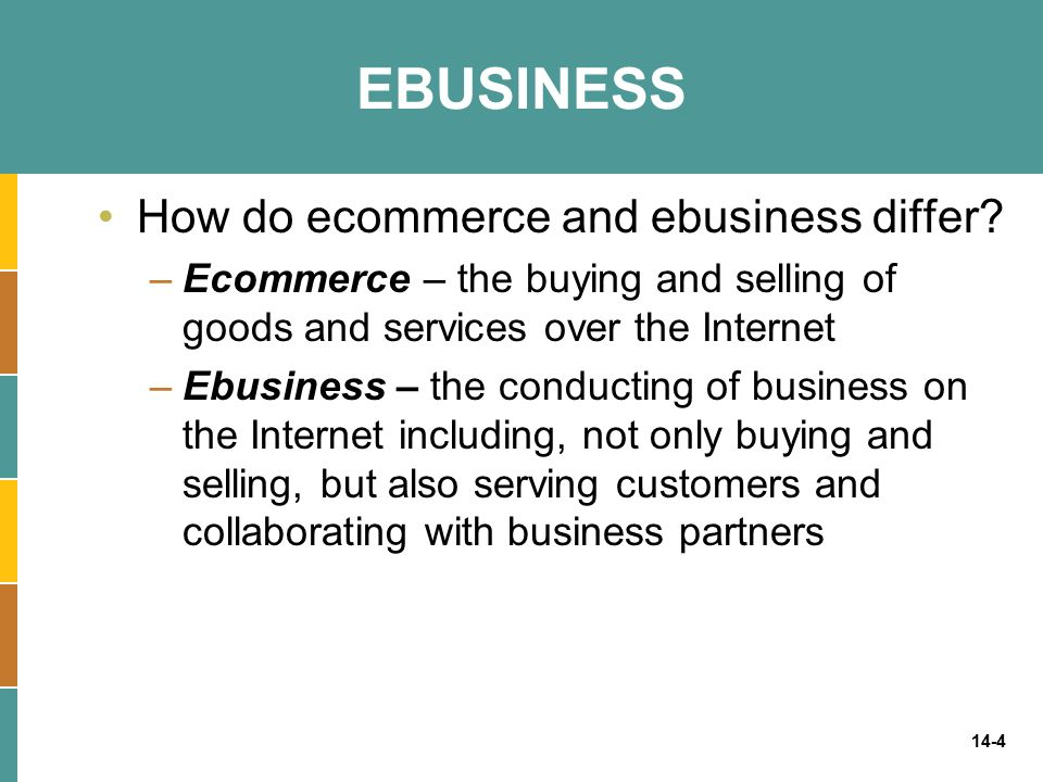 14-4 EBUSINESS How do ecommerce and ebusiness differ? –Ecommerce – the buying and selling of goods and services over the Internet –Ebusiness – the con