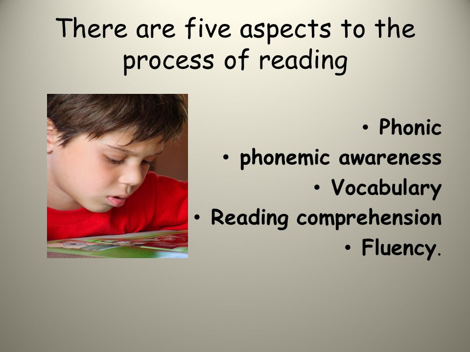 There are five aspects to the process of reading Phonic phonemic awareness Vocabulary Reading comprehension Fluency.