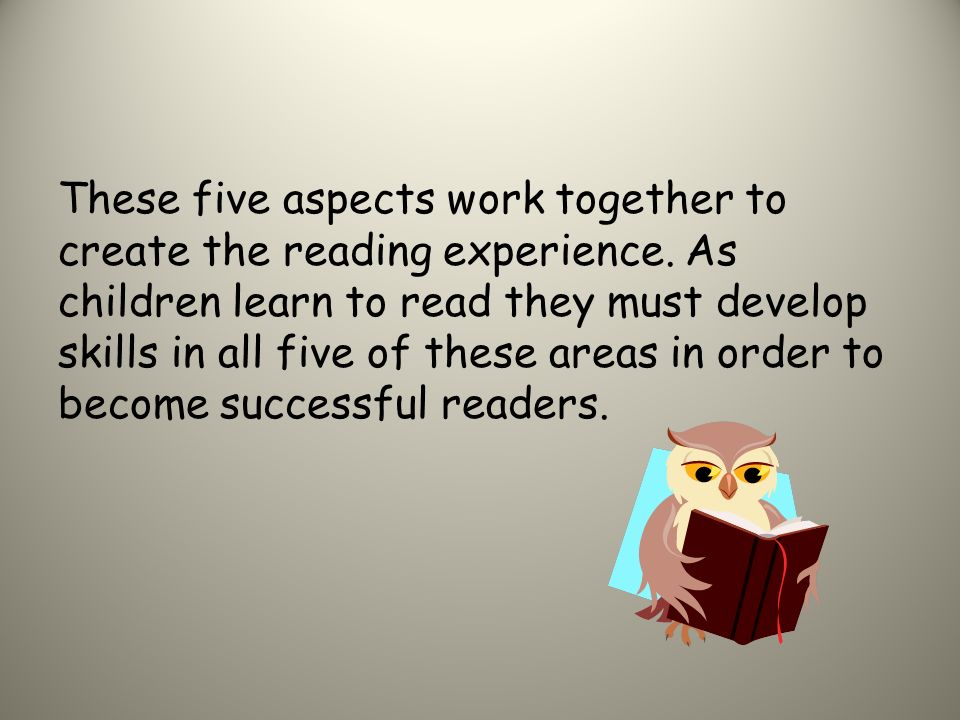 These five aspects work together to create the reading experience.