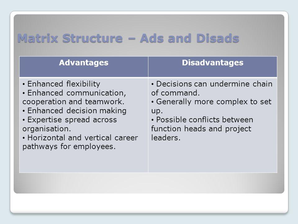 Matrix Structure – Ads and Disads AdvantagesDisadvantages Enhanced flexibility Enhanced communication, cooperation and teamwork.