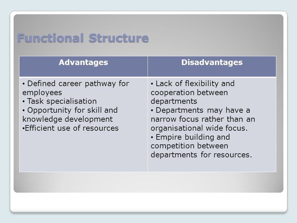 Functional Structure AdvantagesDisadvantages Defined career pathway for employees Task specialisation Opportunity for skill and knowledge development Efficient use of resources Lack of flexibility and cooperation between departments Departments may have a narrow focus rather than an organisational wide focus.