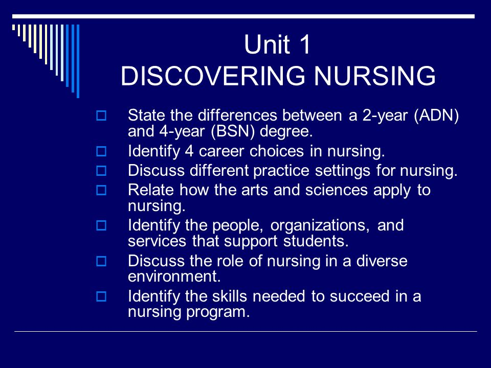 Unit 1 Discovering Nursing State The Differences Between A 2 Year