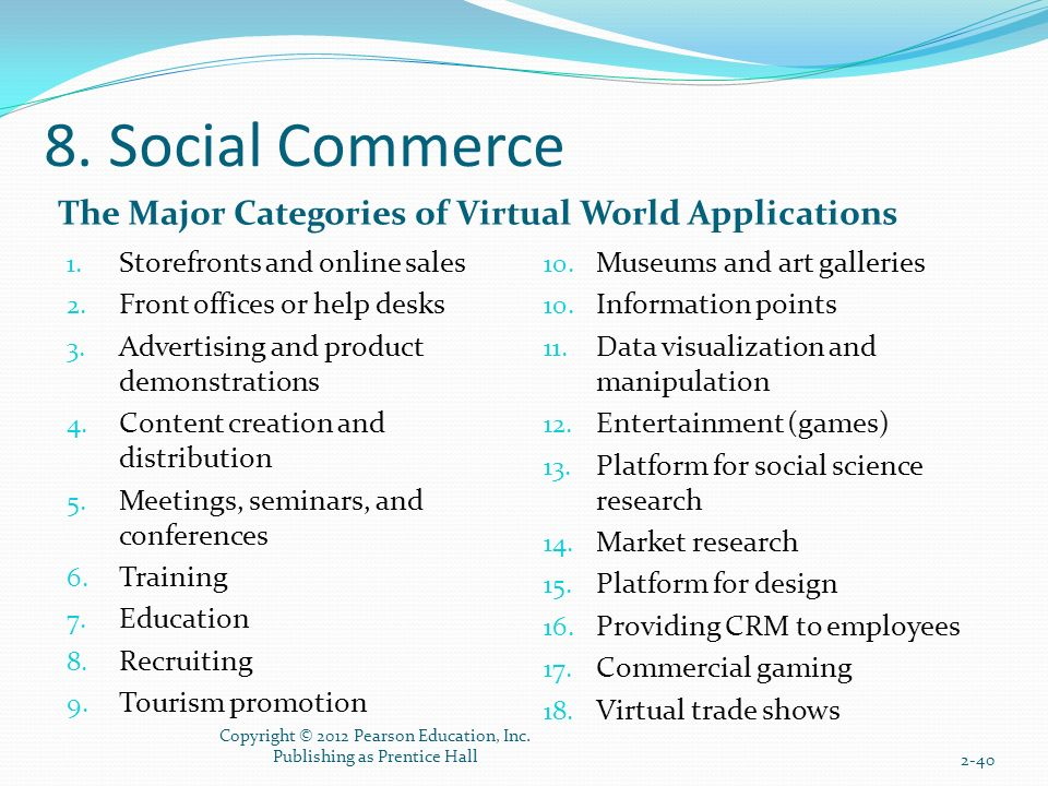 8. Social Commerce The Major Categories of Virtual World Applications 1.