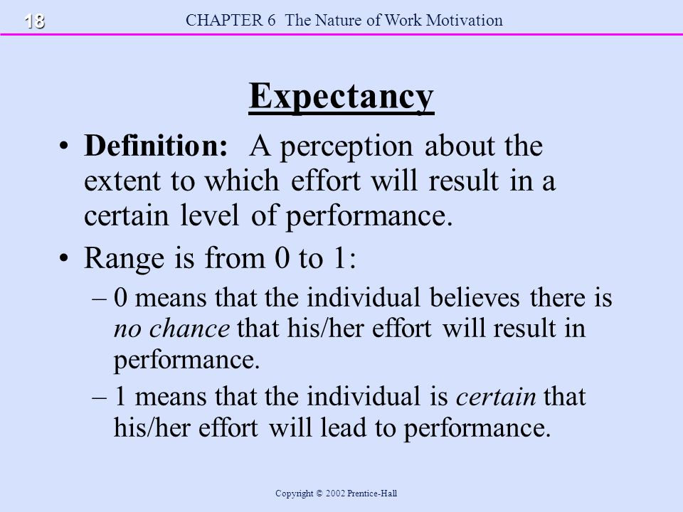 Amazing CHAPTER 6 The Nature Of Work Motivation Copyright © 2002 Prentice Hall Expectancy  Definition: