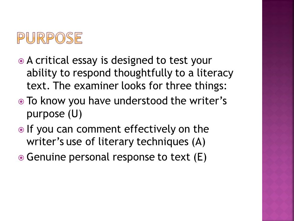 an essay on critcism This resource begins with a general description of essay writing and moves to a discussion of common essay genres students may encounter across the curriculum.