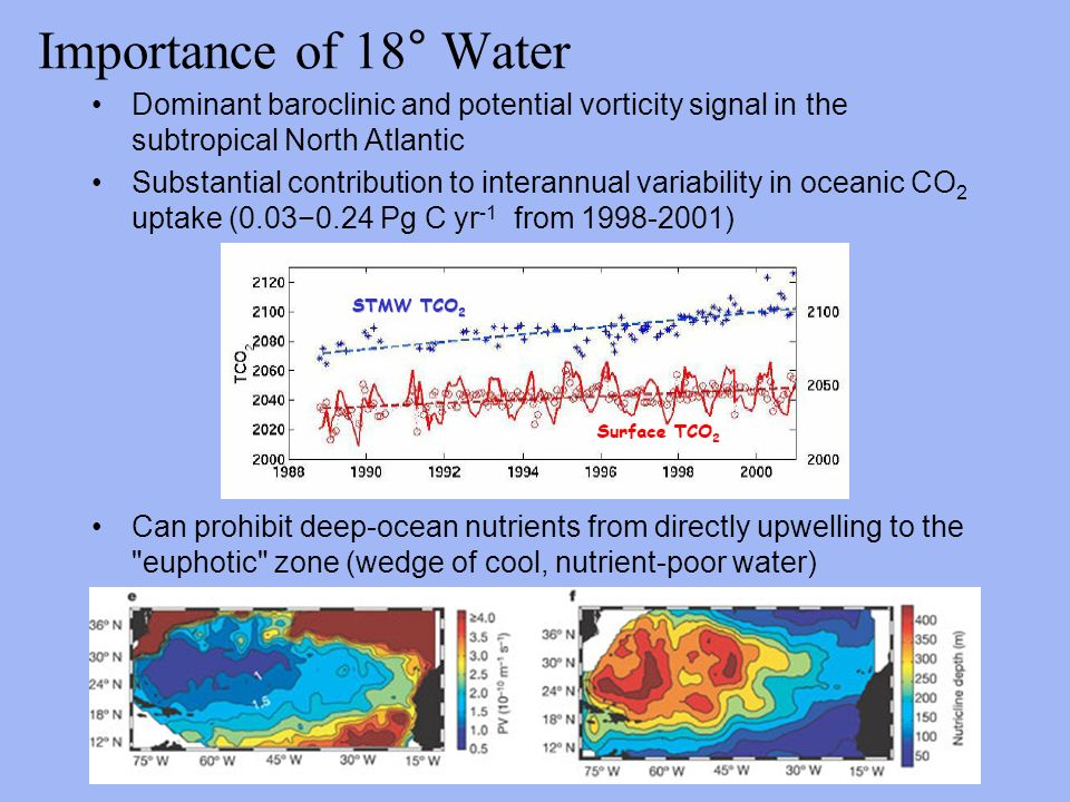 Importance of 18° Water Dominant baroclinic and potential vorticity signal in the subtropical North Atlantic Substantial contribution to interannual variability in oceanic CO 2 uptake (0.03−0.24 Pg C yr -1 from ) Can prohibit deep-ocean nutrients from directly upwelling to the euphotic zone (wedge of cool, nutrient-poor water)