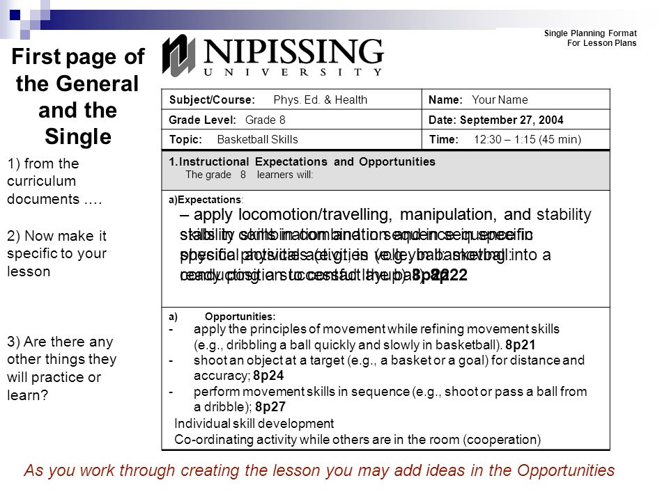 The Nipissing University Lesson Plans Presentation To The Near - Single subject lesson plan template