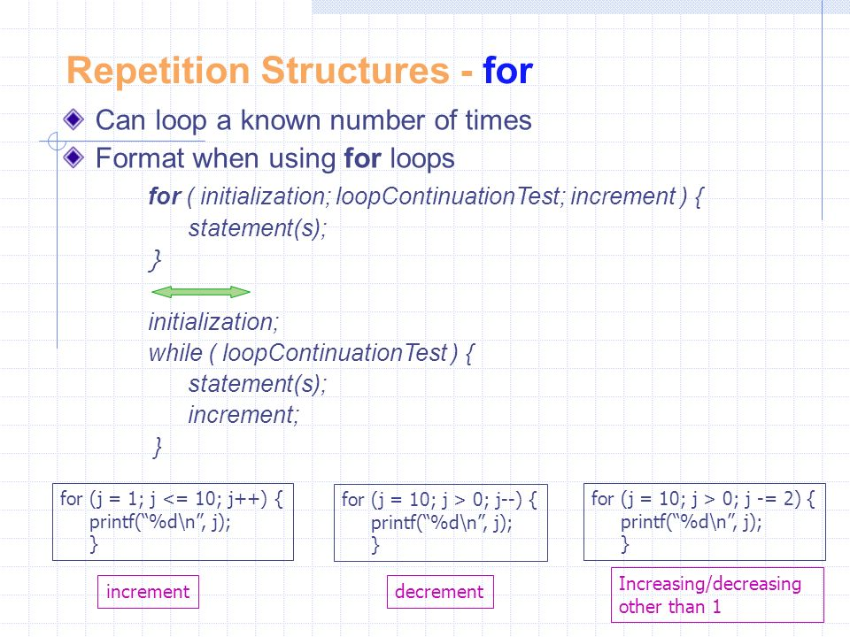 Repetition Structures - for Can loop a known number of times Format when using for loops for ( initialization; loopContinuationTest; increment ) { statement(s); } initialization; while ( loopContinuationTest ) { statement(s); increment; } for (j = 1; j <= 10; j++) { printf( %d\n , j); } for (j = 10; j > 0; j--) { printf( %d\n , j); } for (j = 10; j > 0; j -= 2) { printf( %d\n , j); } incrementdecrement Increasing/decreasing other than 1