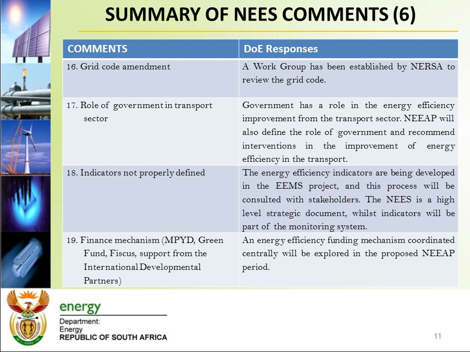SUMMARY OF NEES COMMENTS (6) 11 COMMENTSDoE Responses 16.