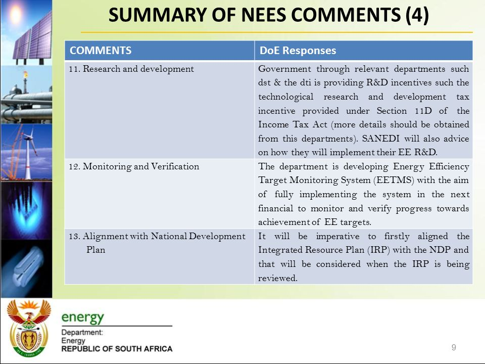 SUMMARY OF NEES COMMENTS (4) 9 COMMENTSDoE Responses 11.
