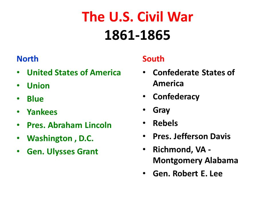 The U.S. Civil War North United States of America Union Blue Yankees Pres.