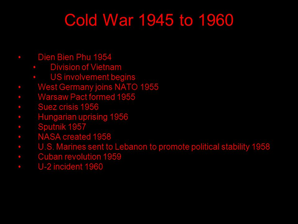 Cold War 1945 to 1960 Dien Bien Phu 1954 Division of Vietnam US involvement begins West Germany joins NATO 1955 Warsaw Pact formed 1955 Suez crisis 1956 Hungarian uprising 1956 Sputnik 1957 NASA created 1958 U.S.
