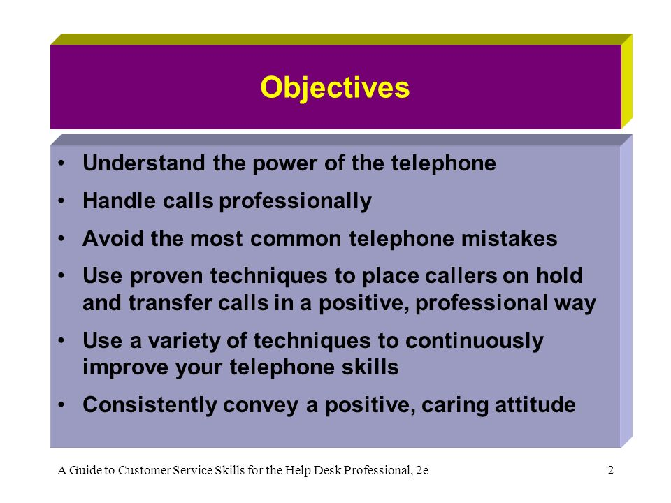 Chapter 3: Winning Telephone Skills A Guide to Customer Service ...